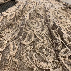 Beige Lace Floral Dress